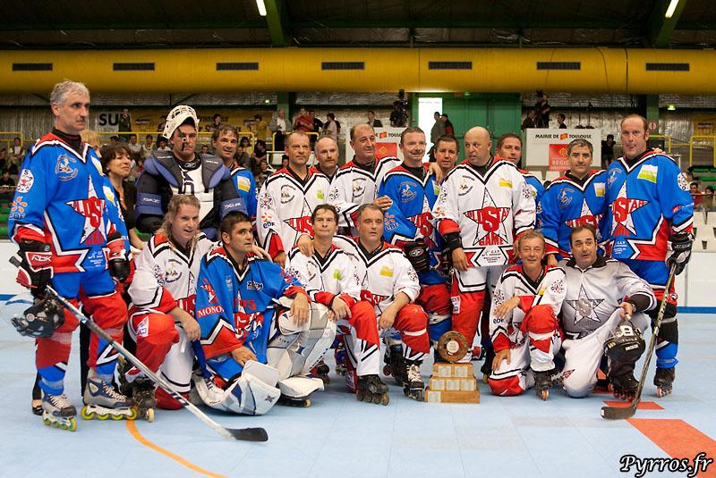 Opposition entre les joueurs Old Star de la selection nord vs les joueurs de la selection sud, anciens joueurs de haut niveau en RILH ou en hockey sur glace. la selection nord s impose