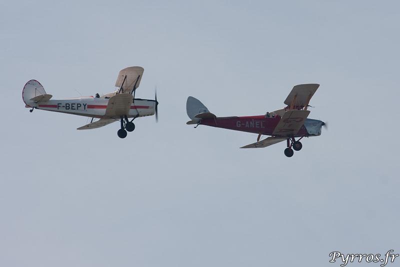 vol en patrouille des Stampe SV-4 (blanc) et DE HAVILLAND DH-82A TIGER (rouge)