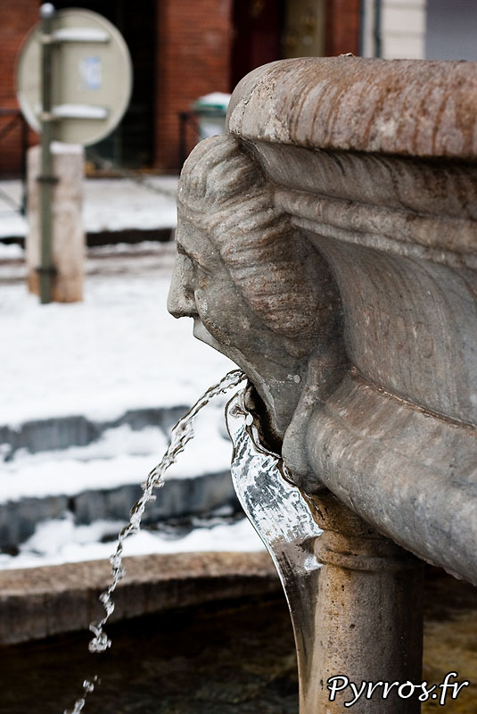 Neige à Toulouse, glace aux fontaines. (Fontaine Saint Etienne)