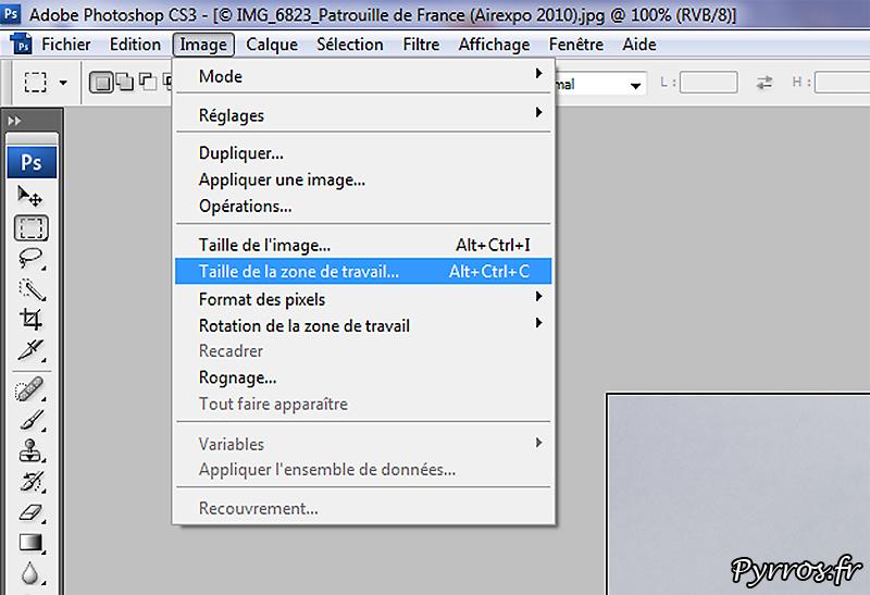 Créer un script d'encadrement de photos avec photoshop : étape 2