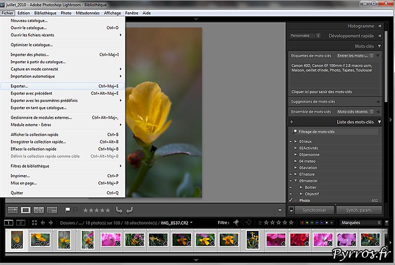 Exporter les photos