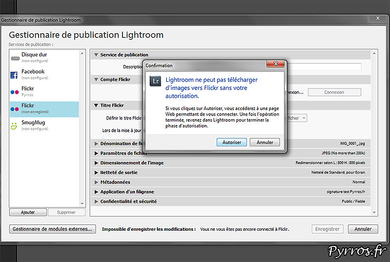 Connecter lightroom à FlickR, lightroom va ouvrir le compte FlickR connecté à l'ordinateur