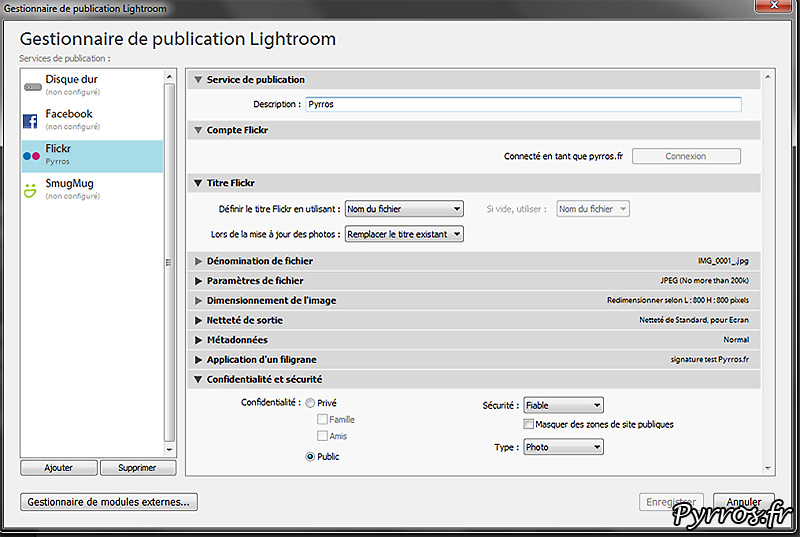 Parametrer l'export des photos de Lightroom vers FlickR