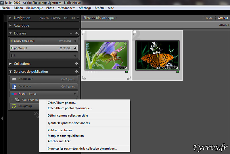 De Lightroom à FlickR, transferer les photos