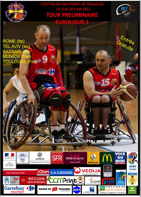 Affiche (format sucette) brochures d'informations et cartes d'accréditations publiées par le Toulouse invalides Club organisateur du tour préliminaire de l'Euroligue 1 (Groupe B) à Toulouse