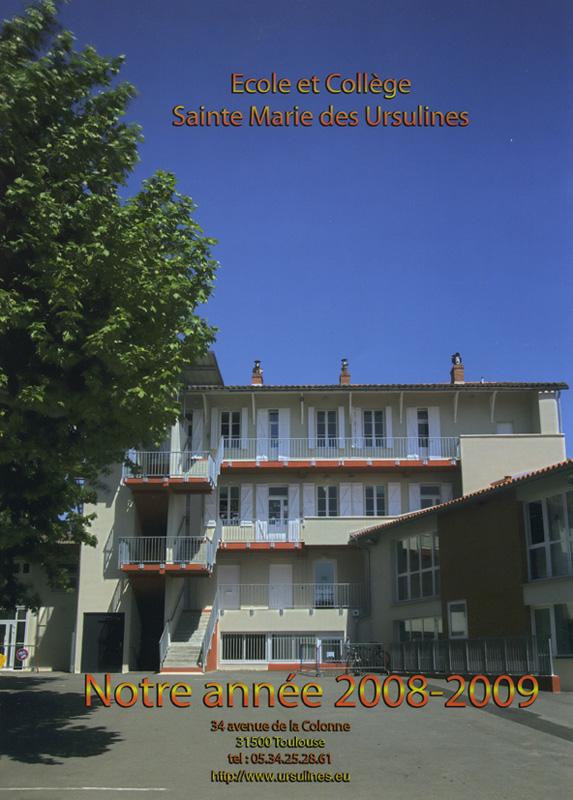 Couverture livre de l'Année de Sainte Marie de Ursulines (2008/2009)