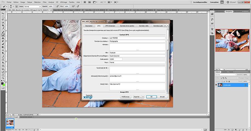 écrire les métadonnées IPTC dans photoshop
