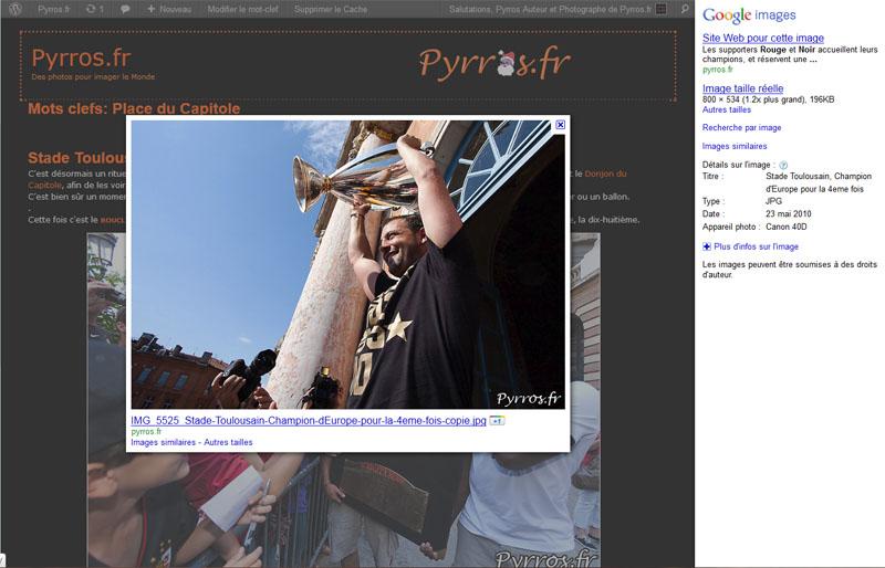 Sans l'action du plugin NoFrame SEO voici ce que l'on obtient dans une recherche dans Google Image