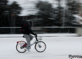 Même sous la neige les vélos Toulouse sont de sortie