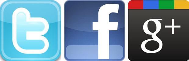 Réseaux sociaux logo twitter, facebook et google +