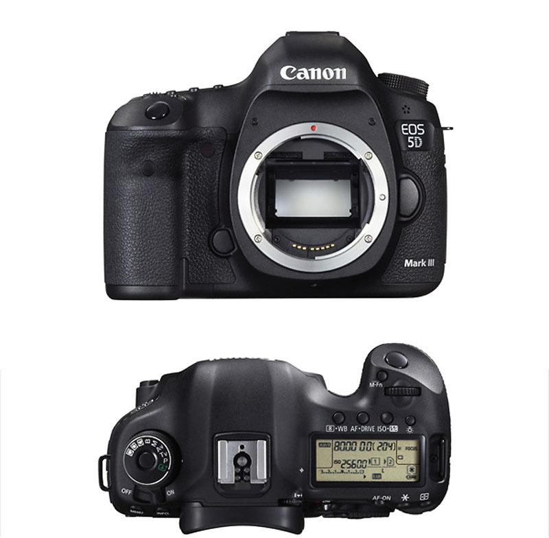 Canon Eos 5D mark3 vue de face et du dessus