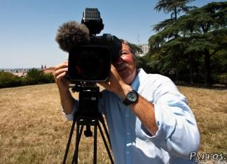 Tournage avec France 3, face camera pour présenter mes photos.