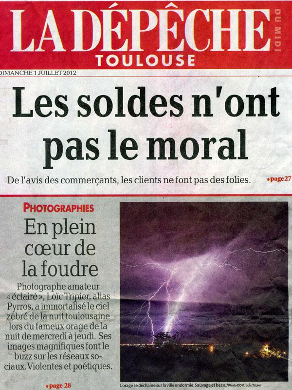 Présentation de l'article dans La Dépêche du Midi du dimanche 1er juillet 2012 édition Toulouse.