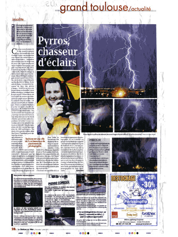 Article dans La Dépêche du Midi du dimanche 1er juillet 2012