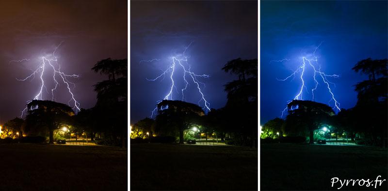 Comment photographier les orages, la balance de blanc
