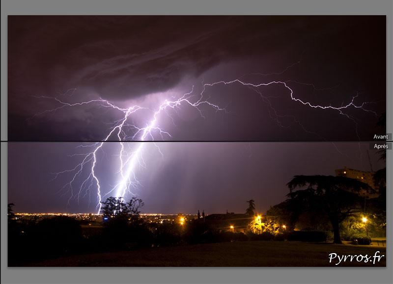 Comment photographier un orage, le post-traitement permet d'ajuster l'exposition de l'éclair