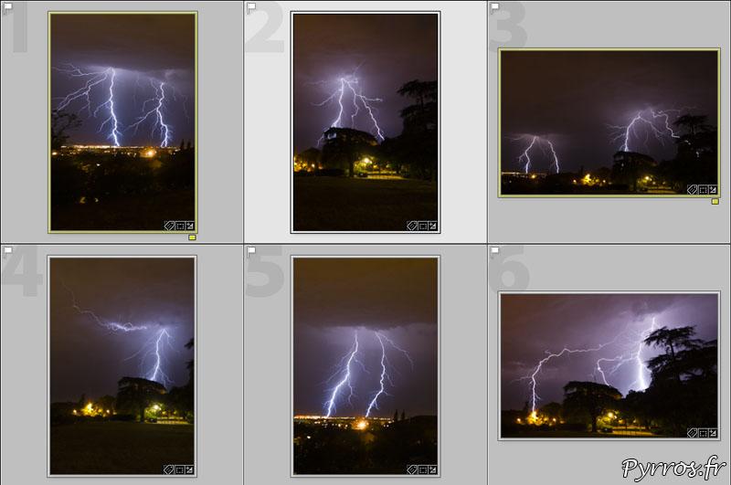 Comment photographier l'orage, planche des photos que je garde.