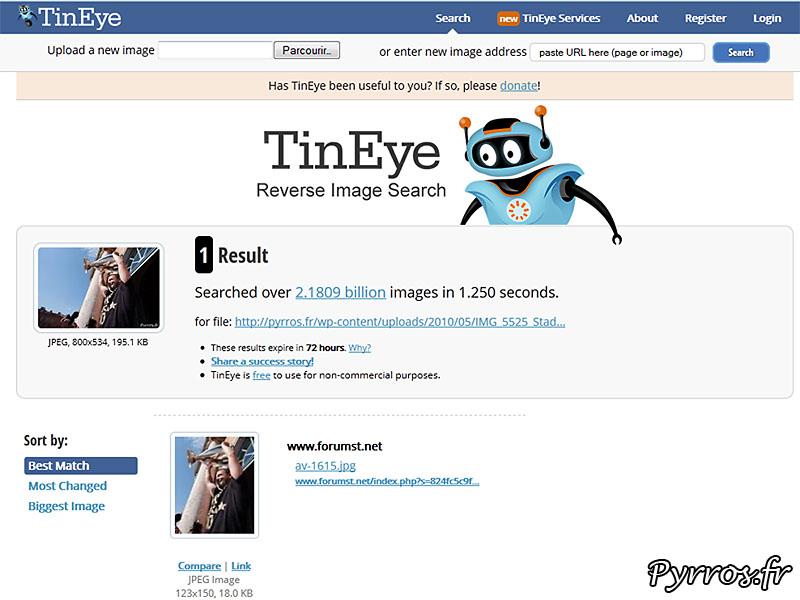 retrouver ses photos volées avec TinEye