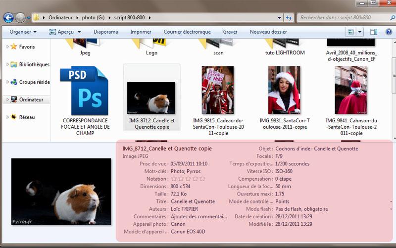 Lire et écrire les métadonnées de photos avec Windows 7