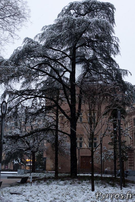 le nouveau square de Gaule est sous la neige.