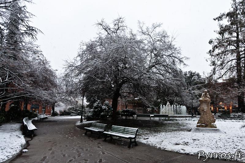 le Square Goudouli est sous la neige