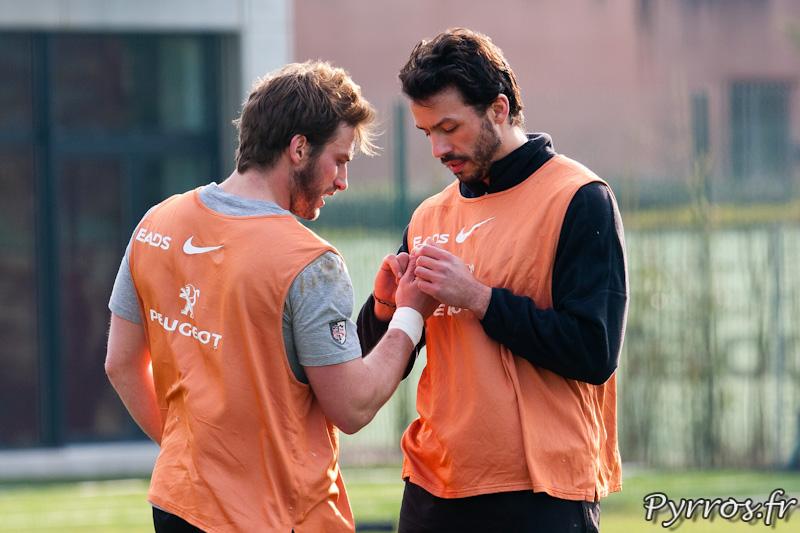Maxime Medard se fait soigner par Clement Poitrenaud, Entrainement du Stade Toulousain