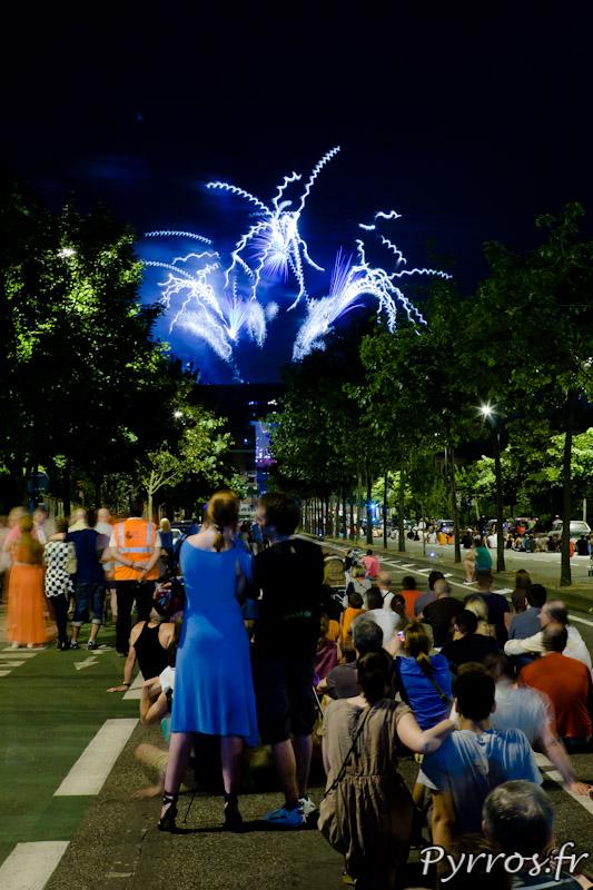 Il y a du monde pour observer le Feu d'artifice du 14 juillet 2013 à Toulouse.
