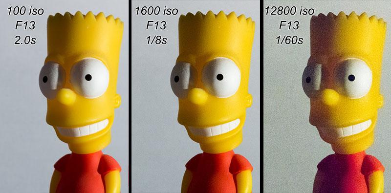 Grossissement d'une zone de la comparaison de différentes sensibilités ISO (100iso 1600iso 12800iso)