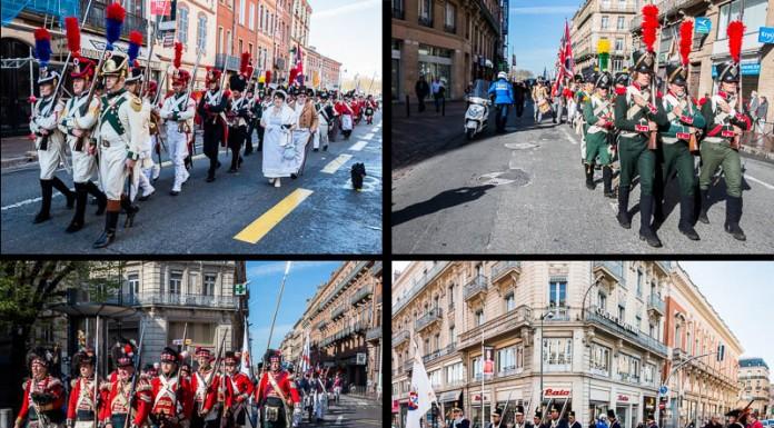 Les reconstituants défilent dans les rues de Toulouse pour la commémoration du bicentenaire de la bataille de Toulouse du 10 avril 1814