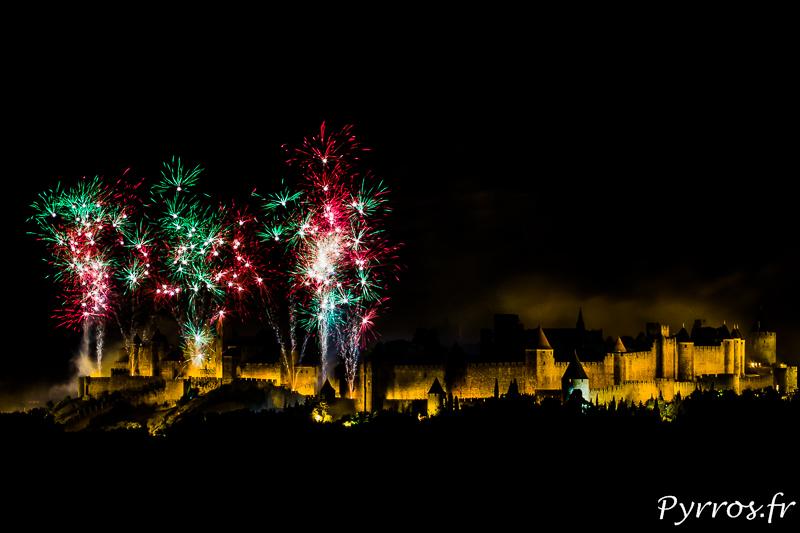 Feu d'artifice à la cité de Carcassonne pour le 14 juillet