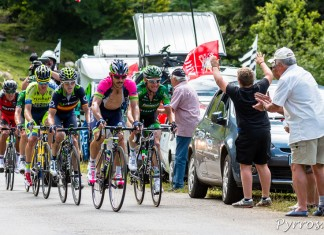 Tour de France dans le port de Balès, le groupe de tète, Serpa, Thomas Voeckler, Izaguirre, Rogers, Cyril Gautier (caché) et Van Avermaet