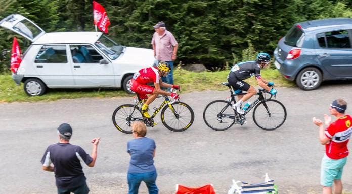 Tour de France dans le port de Balès, Geraint THOMAS (Sky) emmène Luis Angel MATE MARDONES (Cofidis)