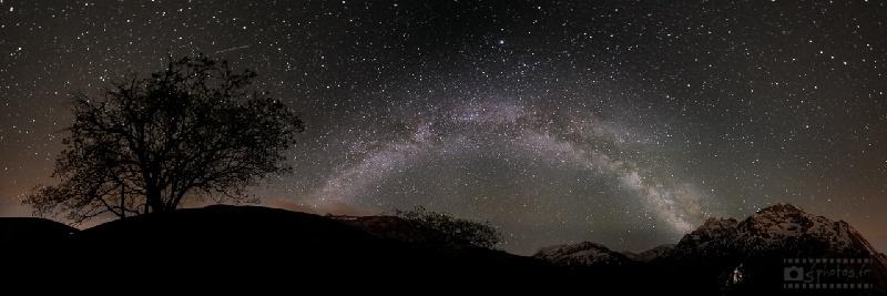Débuter en Astrophotographie, Panoramique de la voie lactée réalisé près du col du Lautaret
