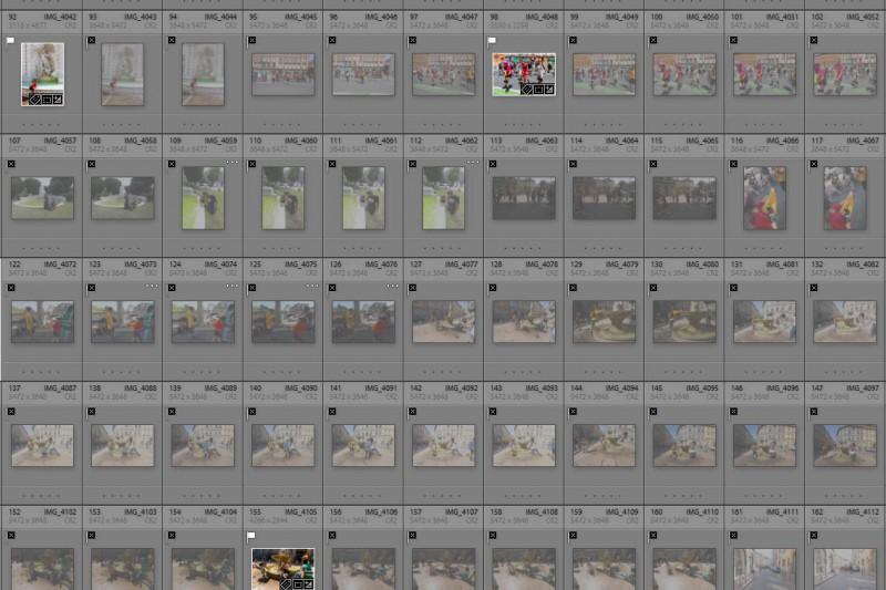 Exemple de planche contact, rares sont les déclenchements sélectionnées qui deviendront de bonnes photos