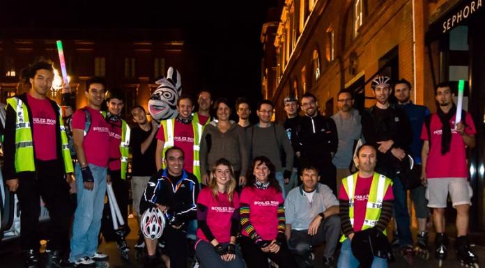 Les staffeurs de Roulez Rose, nombreux sont fatigués mais gardent le sourire après cette rando exceptionnelle dans les rues de Toulouse