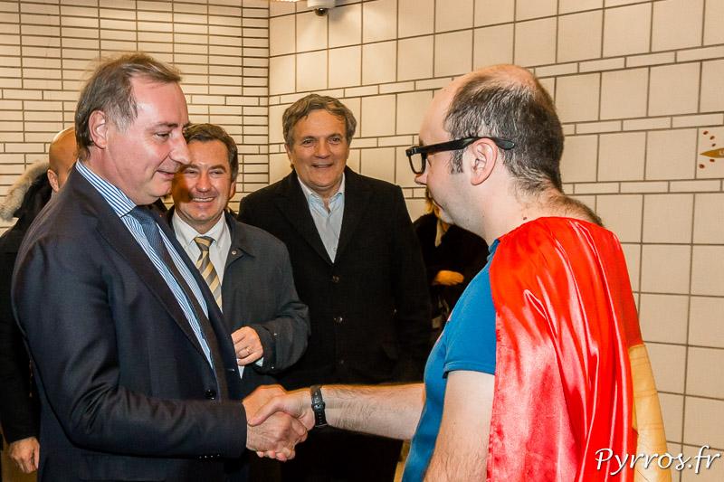 Le Maire de Toulouse, Jean Luc Moudenc, rencontre Super Métro de l'Atelier Art en Ciel