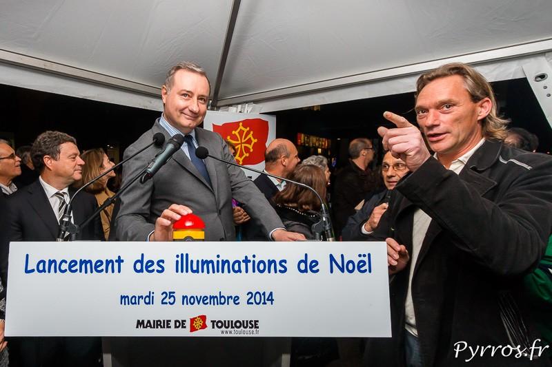 Le Maire de Toulouse Jean Luc Moudenc (UMP) allume les illuminations de Noël à Toulouse