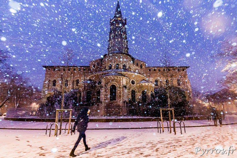 La Basilique Saint Sernin, symbole de Toulouse sous la neige