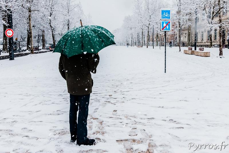 Au terminus du tram quelques toulousains curieux observent la neige tomber