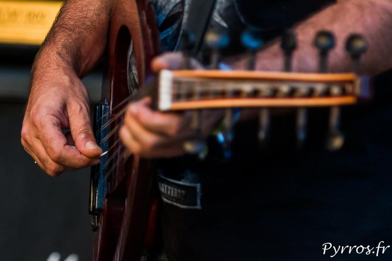 Gros plan sur les cordes d'une espèce de guitare