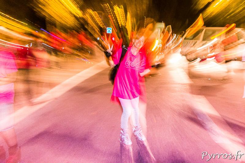 Ballade Octobre Rose en roller dans les rues de Toulouse