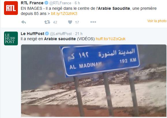 Neige en Arabie Saoudite, la fausse information relayée par les médias