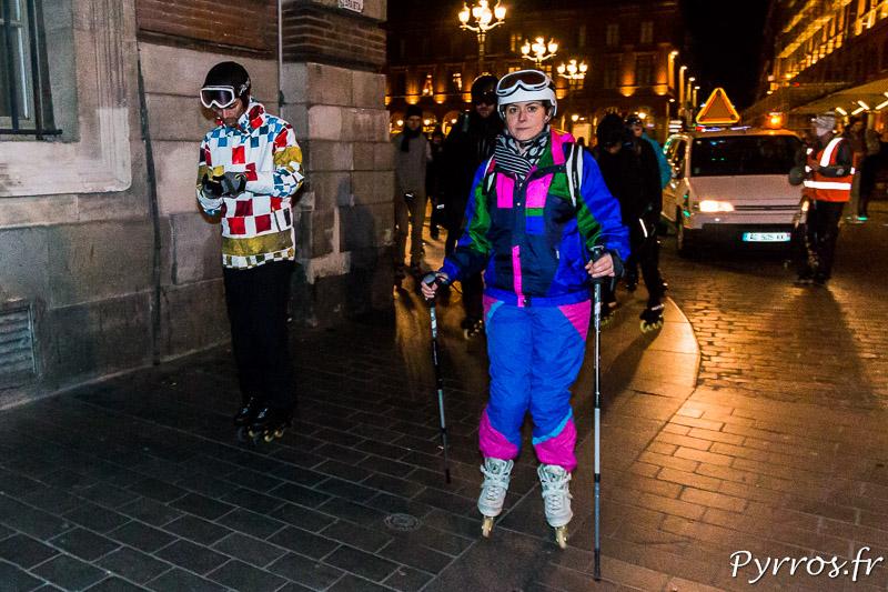 Les patineurs sont venus en tenue de ski idéale pour affronter les 2°C