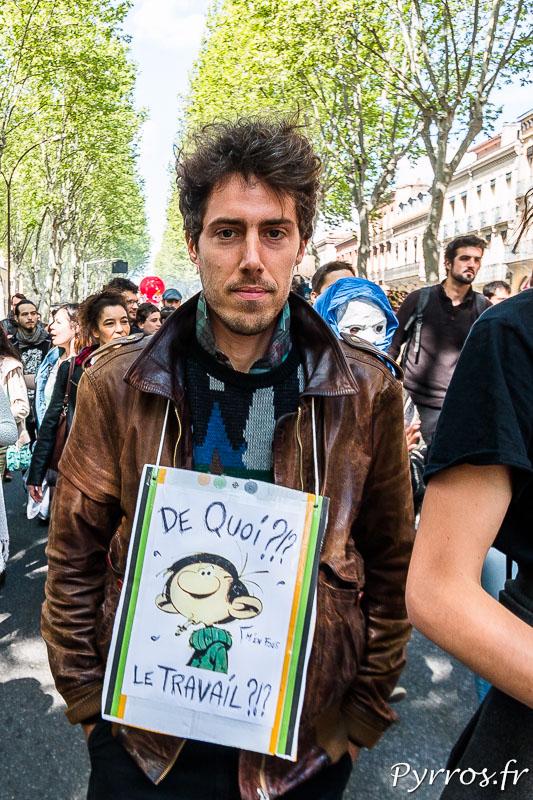 Gaston lagaffe dans la manifestation contre la loi travail de Toulouse