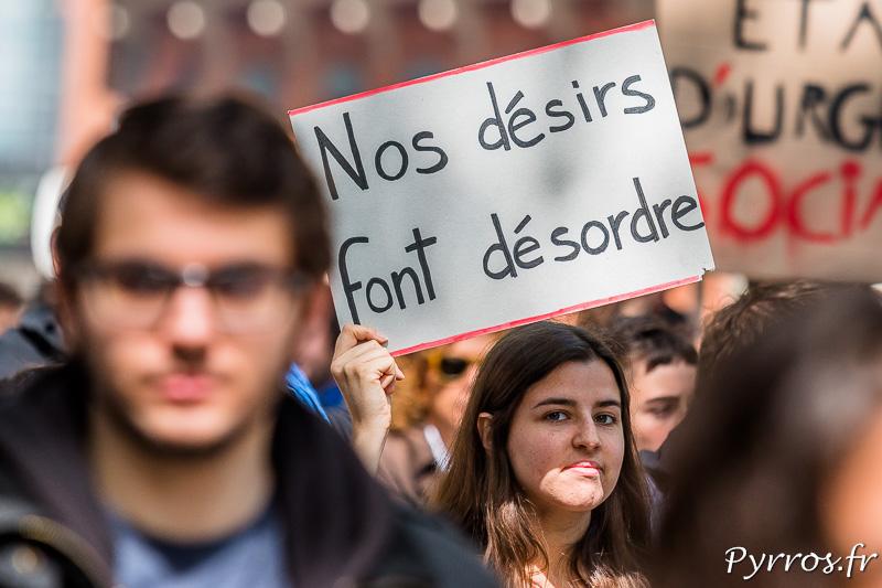 """Une des nombreuses pancartes de la manifestation contre la loi travail : """"Nos désirs font désordre"""""""