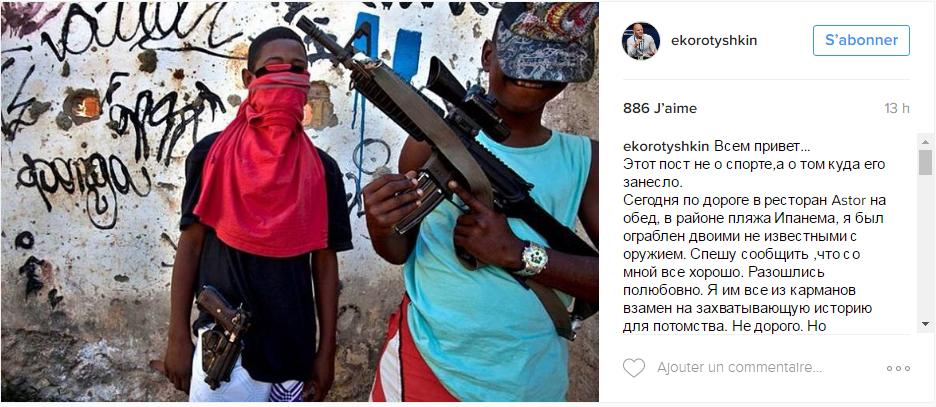Capture d'écran de la publication instagram d'Evgeny Korotyshkin