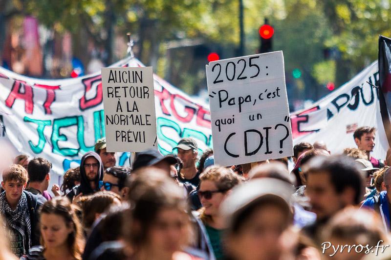 Un manifestant se demande si 2025 le CDI sera toujours la norme