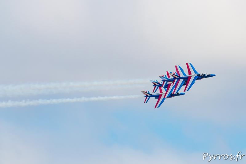 Le Box Avant en formation Persienne, les 4 avions s'alignent verticalement sous le leader de la PAF