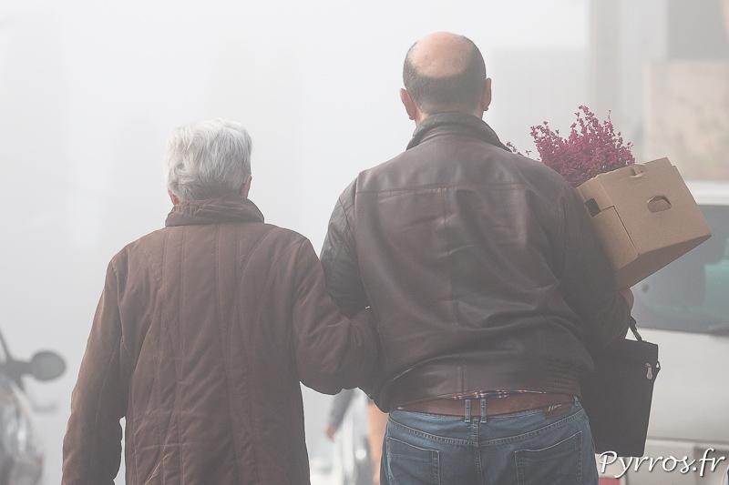 Une dame âgée accompagnée par son fils portent des fleur sur la tombe d'un proche