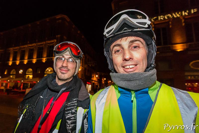Quelques skieurs étaient présents dans le cortège de la rando les Bronzés font du Roller